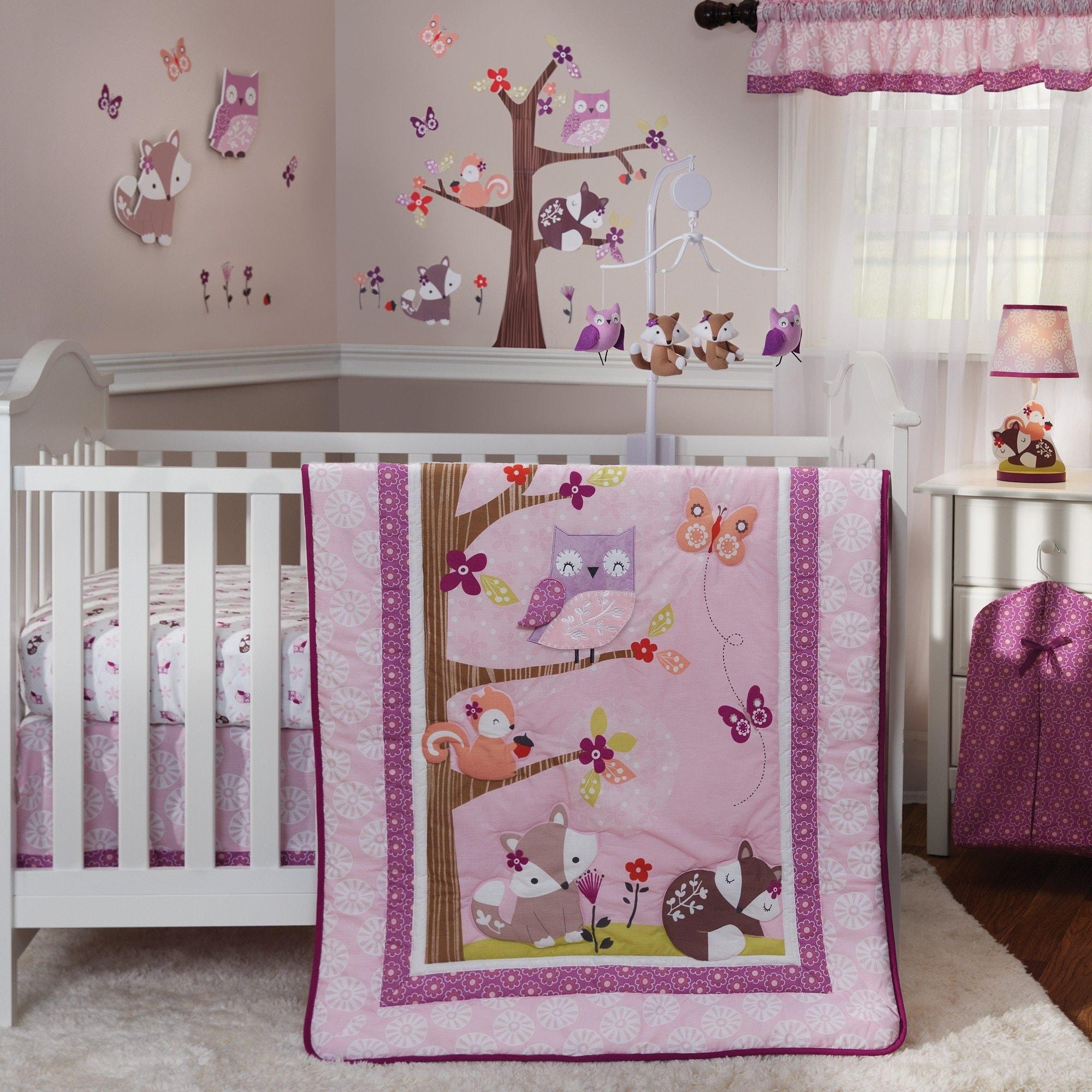 Bedtime Originals Lavender Woods Purple Woodland Animal 3 Piece Baby Nursery Crib Bedding Set