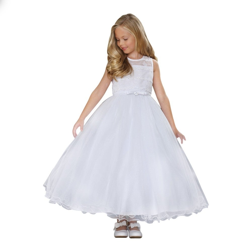 86732a11932 Shop Angels Garment Little Girls White Illusion-Neck Bolero Flower Girl  Dress 3-6 - Free Shipping Today - Overstock - 19767748