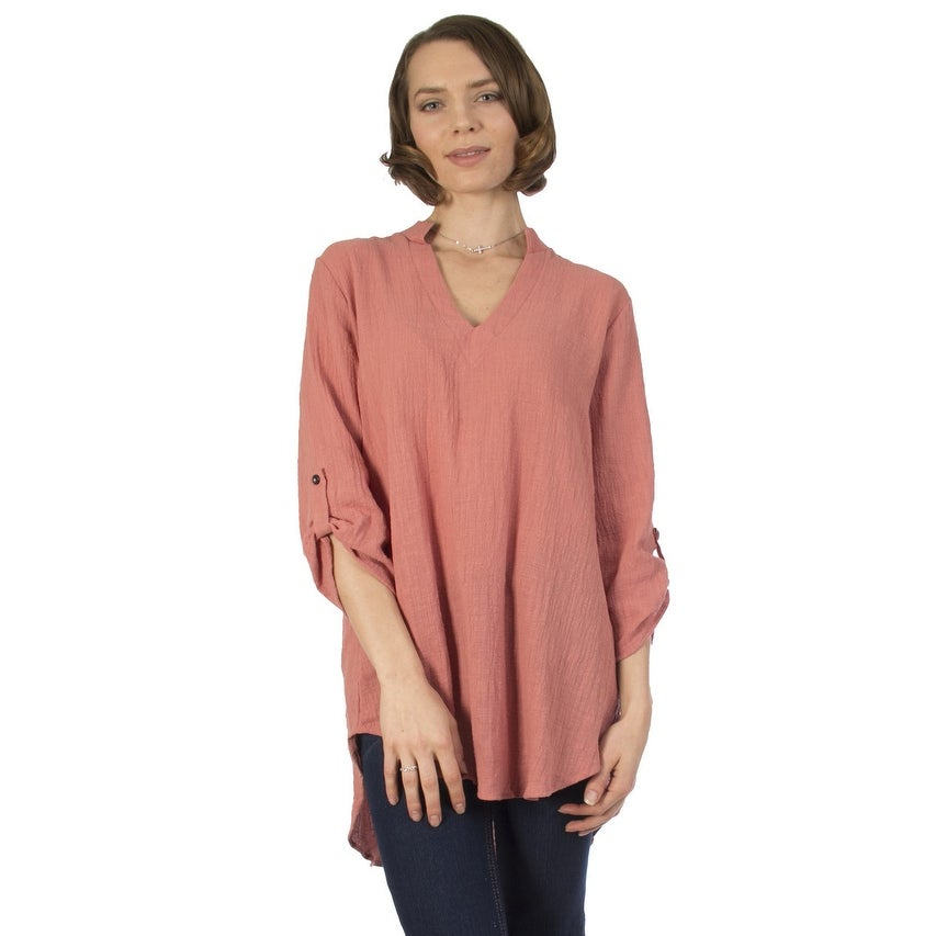 ed14813aa8218b Shop Women's Woven Cotton Gauze Tunic Top Made in USA (Small to 3X Plus Size)  - Free Shipping On Orders Over $45 - Overstock - 19428585