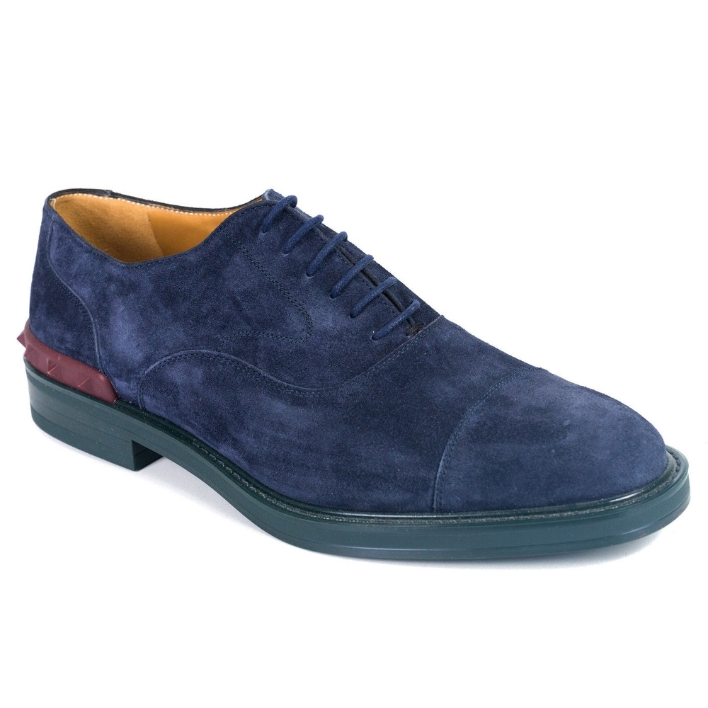 929046cb297ec Shop Valentino Garavani Mens Blue Suede Lace Up Shoes Oxfords - Free ...