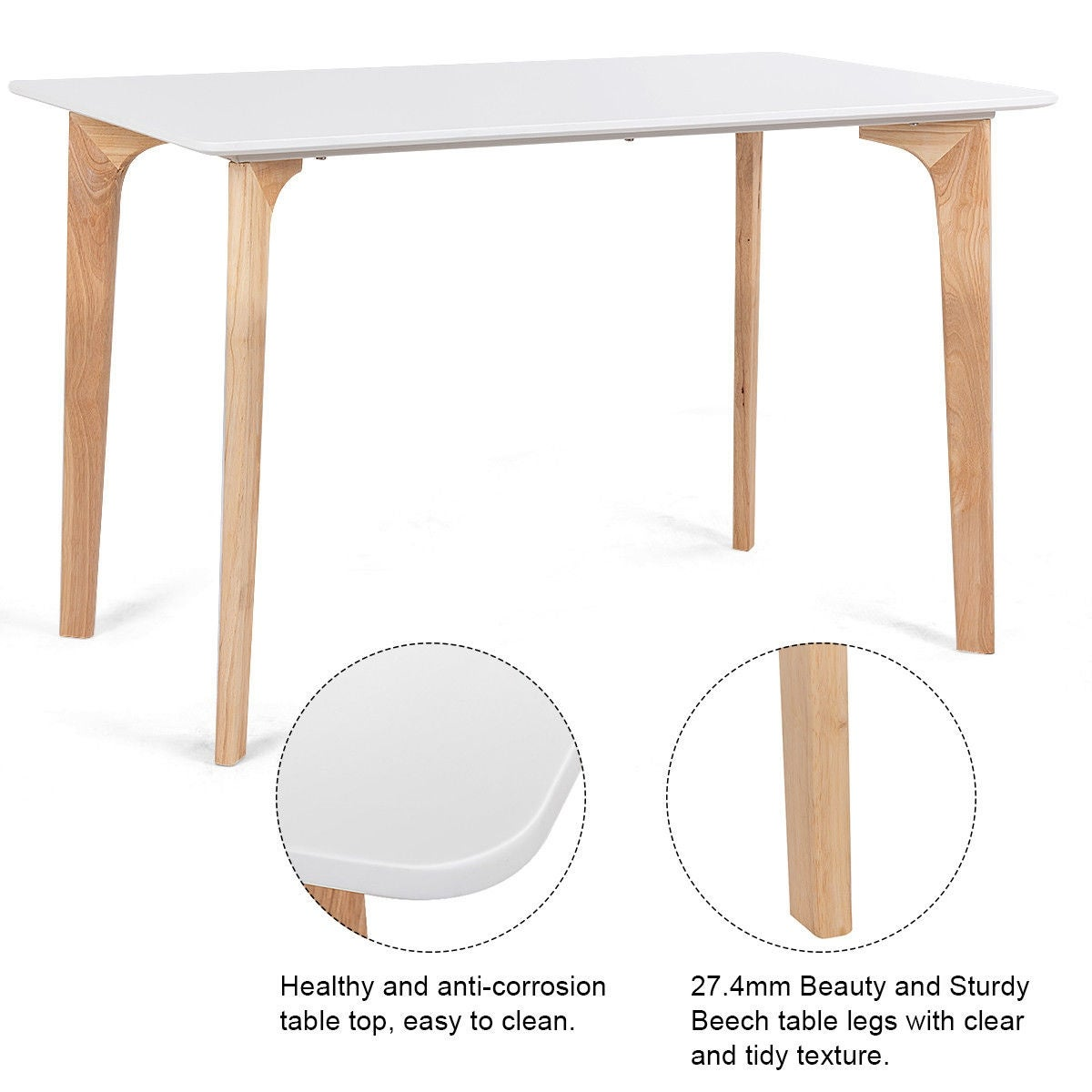 Shop Costway Piece MidCentury Dining Set Rectangular Table And - Rectangle table with 4 chairs