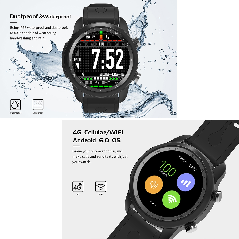 AGPtek 4G Smart Watch Android 6 0 w/ SIM Card GPS WiFi 1GB + 16GB Sport  Wearable Fitness Tracker Devices, Black (2019)
