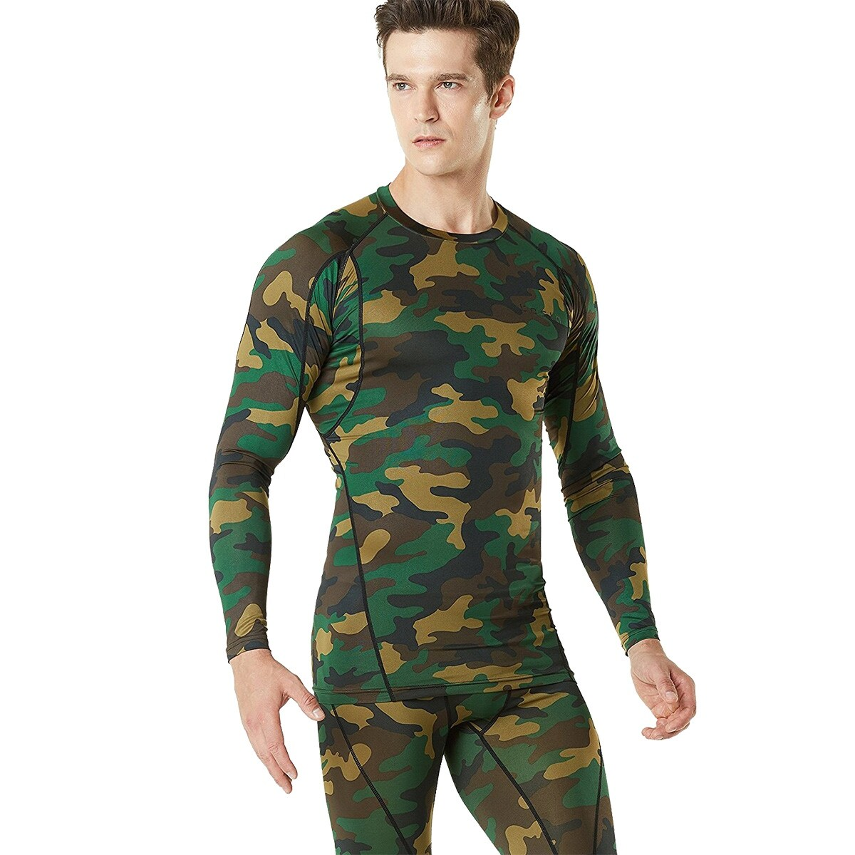 7e2acc8049 Shop TSLA Tesla MUD11 Cool Dry Long Sleeve Compression Shirt - Woodland  Camo/Olive - Free Shipping On Orders Over $45 - Overstock - 18910228
