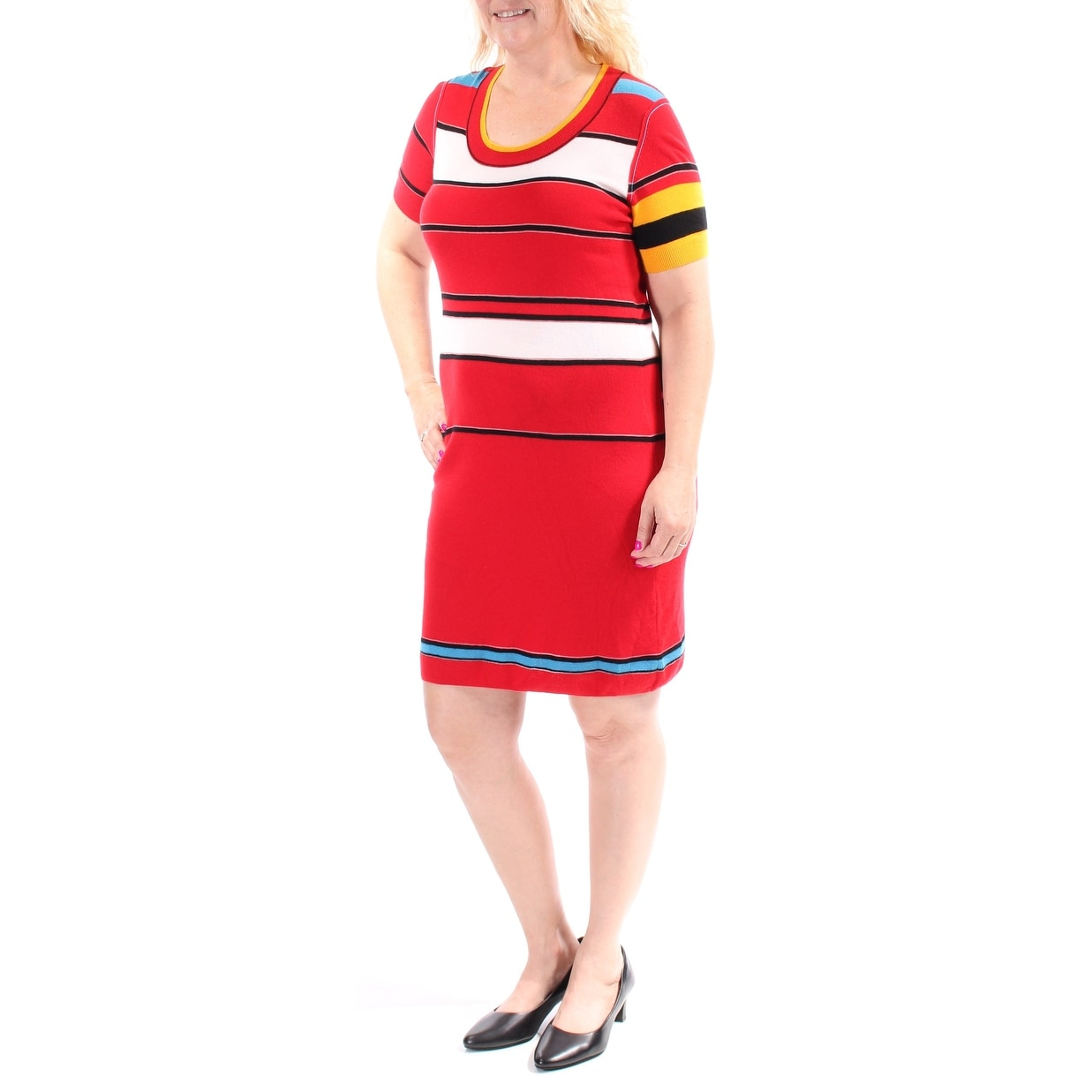 7f95ca11f0104d Shop SONIA RYKIEL Womens Red Striped Short Sleeve Jewel Neck Knee Length  Dress Size  12 - On Sale - Free Shipping Today - Overstock - 21304816