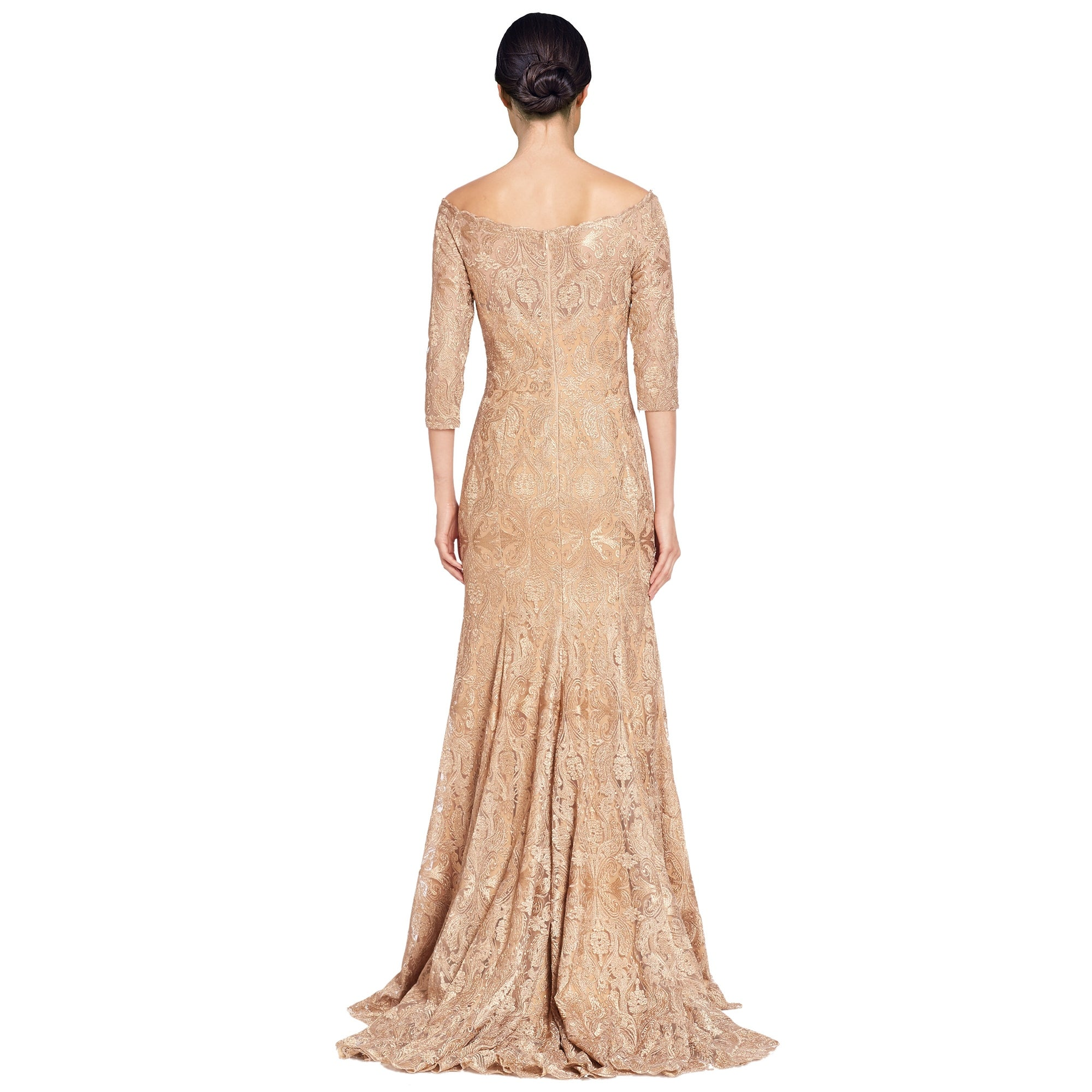 Shop Jovani Fit & Flare Embroidered 3/4 Sleeve Long Evening Gown ...