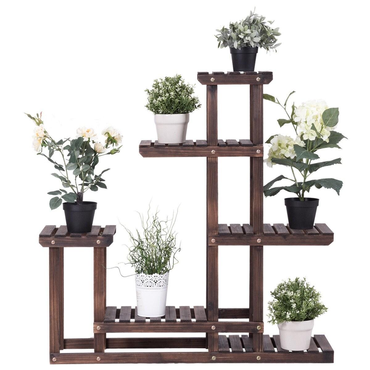 Costway Outdoor Wooden Plant Flower Display Stand 6 Wood Shelf Storage Rack  Garden - Free Shipping Today - Overstock.com - 24647853