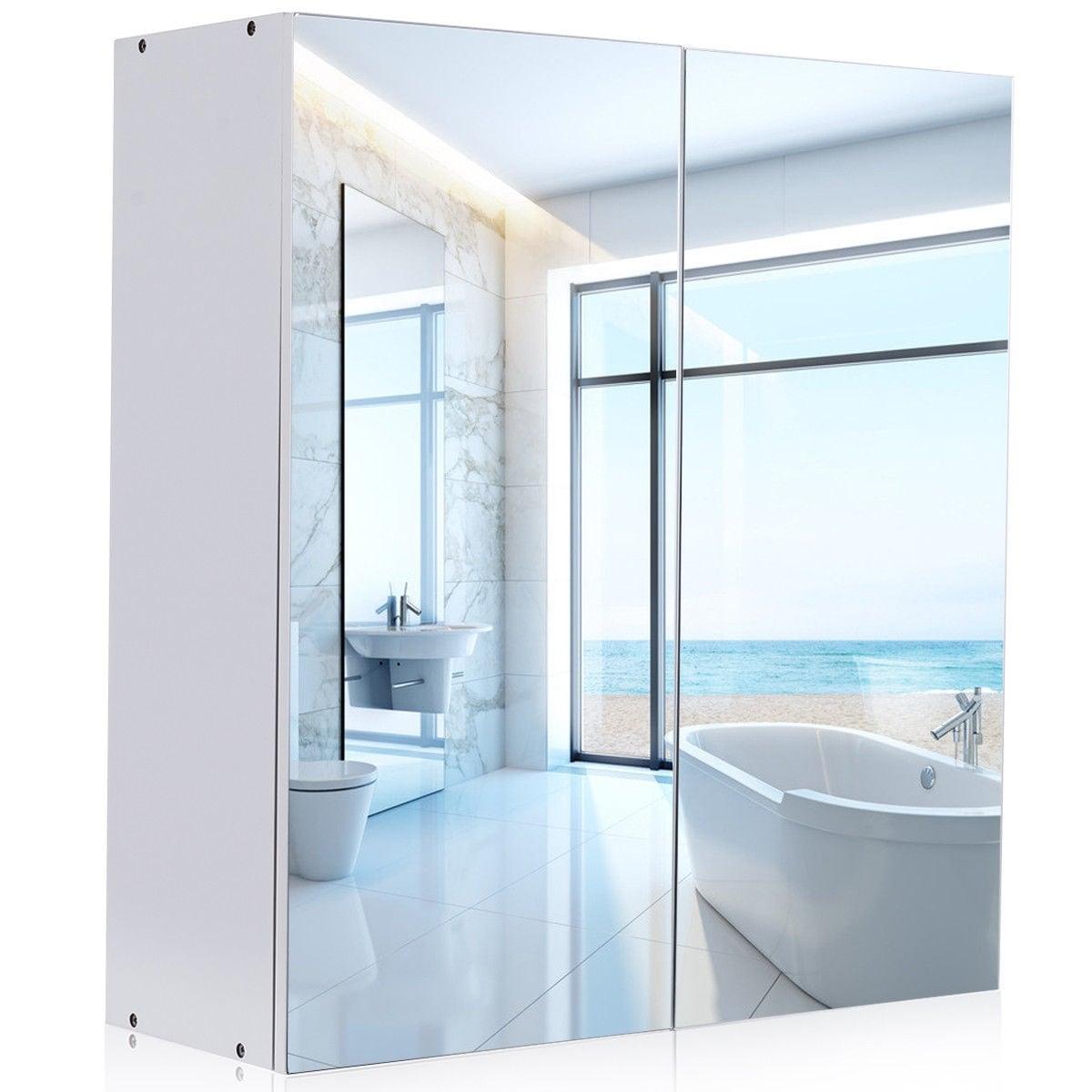 Shop Gymax 24\'\' Wide Wall Mount Mirrored Bathroom Medicine Storage ...