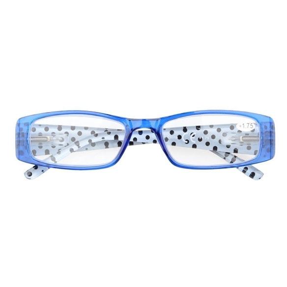 f52f5e1af93 Eyekepper Spring Hinges Polka Dots Temples Rectangular Reading Glasses Blue  +2.5 - Free Shipping On Orders Over  45 - Overstock - 23978960