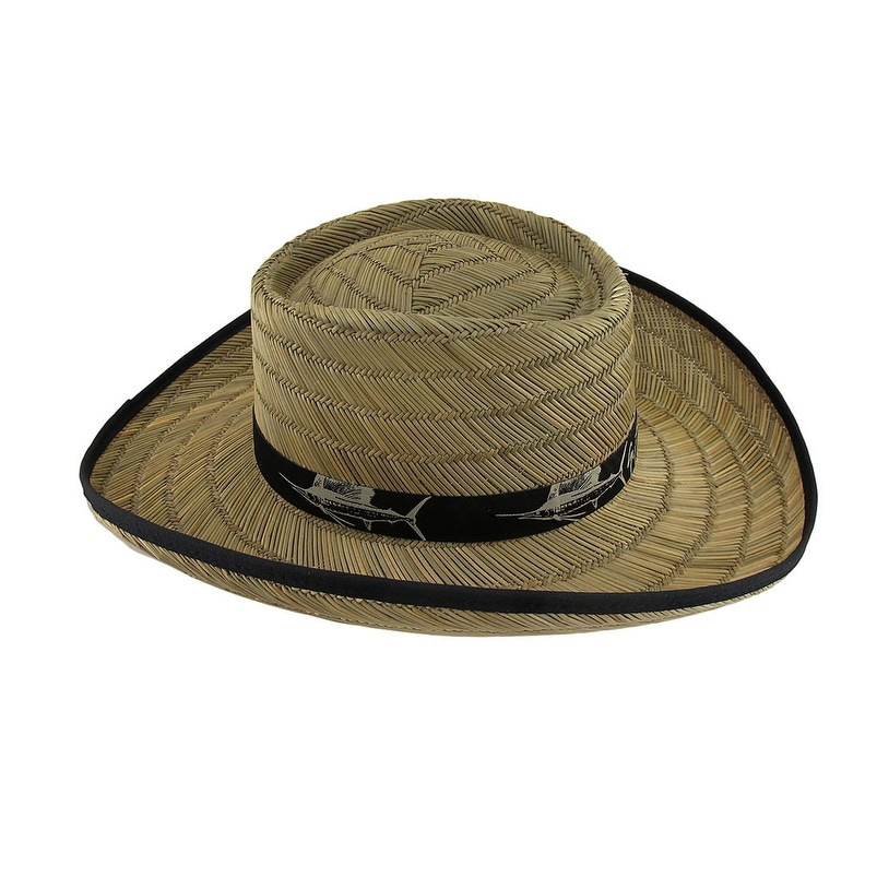 f6403b6bd9d0f Shop Guy Harvey Wide Brim Straw Gambler Hat w Black Band and Trim - On Sale  - Free Shipping On Orders Over  45 - Overstock.com - 17874940