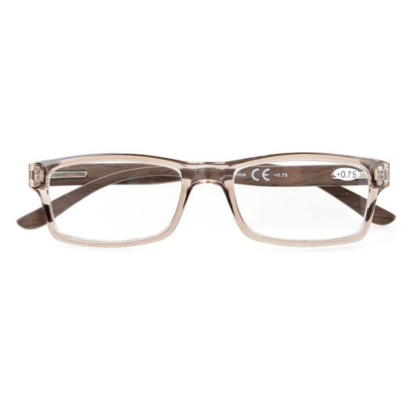 db4fd93aff7 Shop Eyekepper Quality Spring Hinges Wood Arms Mens Womens Reading Glasses  Grey Frame +1.5 - Free Shipping On Orders Over  45 - Overstock - 17781775