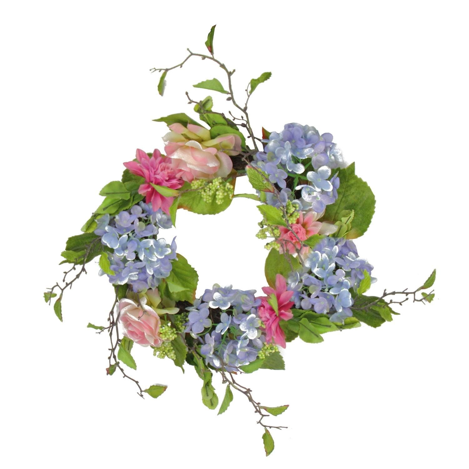 Shop 20 blue and pink rose and hydrangea floral wreath unlit shop 20 blue and pink rose and hydrangea floral wreath unlit free shipping today overstock 16552538 izmirmasajfo