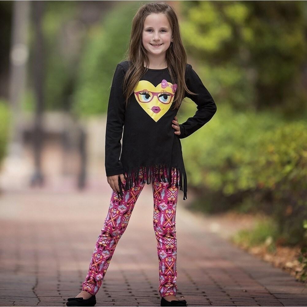 e57e0d095e7 Shop AnnLoren Baby Girls Black Heart Emoji Hi-Low Tunic Aztec Legging Set -  Free Shipping On Orders Over  45 - Overstock.com - 18168366