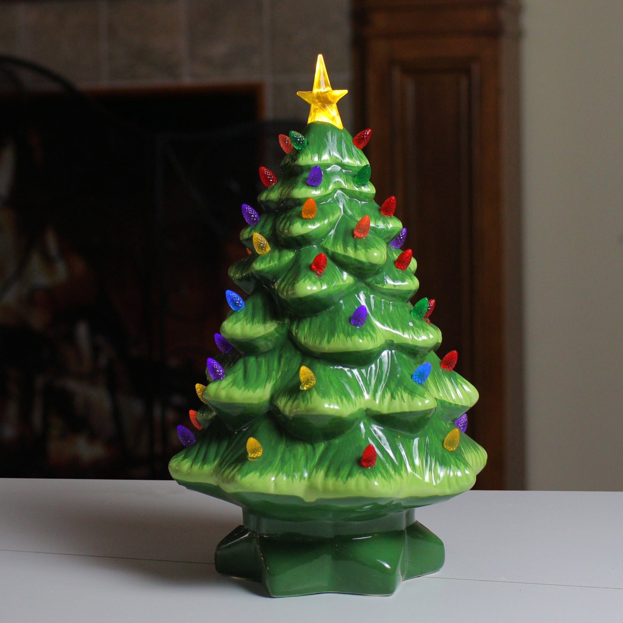 Mr Christmas Multi Color Lighted Nostalgic Ceramic Tree 14 Green