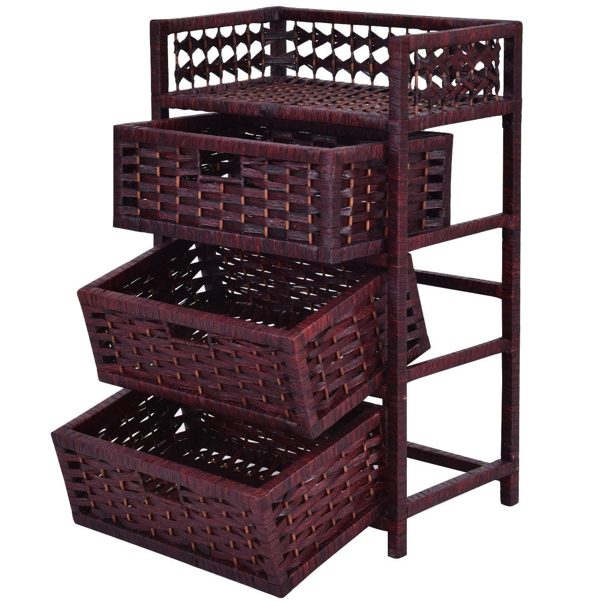 Shop Costway 3 Drawer Storage Unit Tower Shelf Wicker Baskets Storage Chest  Rack   As Pic   On Sale   Free Shipping Today   Overstock.com   18659991