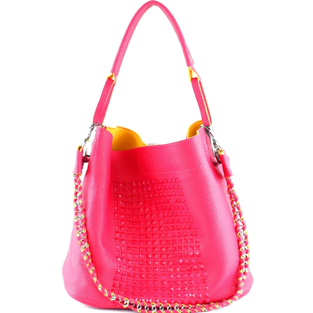 88b594bd273e Shop AB-9038 Studded Fashion 2 in 1 Hobo Bag-Hot Pink - Free Shipping Today  - Overstock.com - 22728077