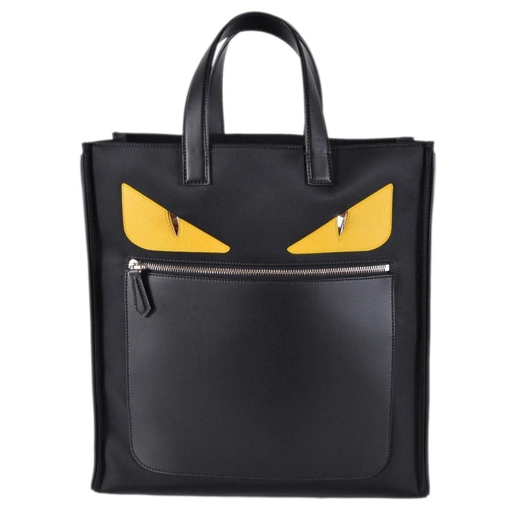 7c5a22758 Fendi Men's Black Nylon Leather MONSTER BUG Gold Eyes Large Tote Bag Purse  - Yellow