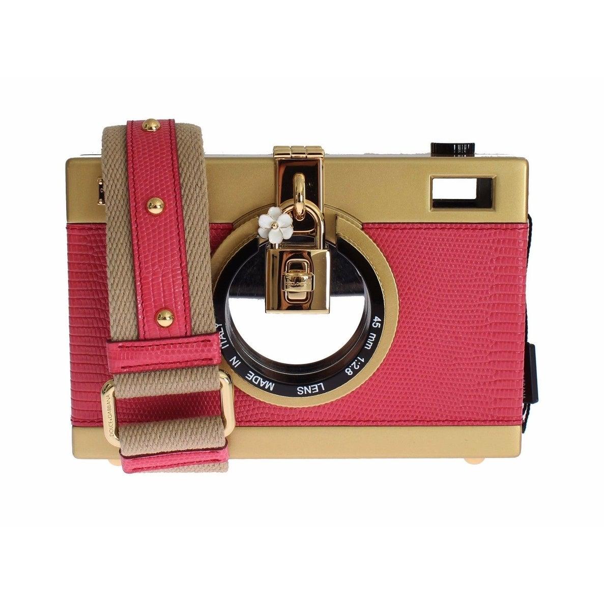 aa91bedff761 Dolce   Gabbana Dolce   Gabbana Camera Case Pink Leather Gold Shoulder Bag  Clutch - One size