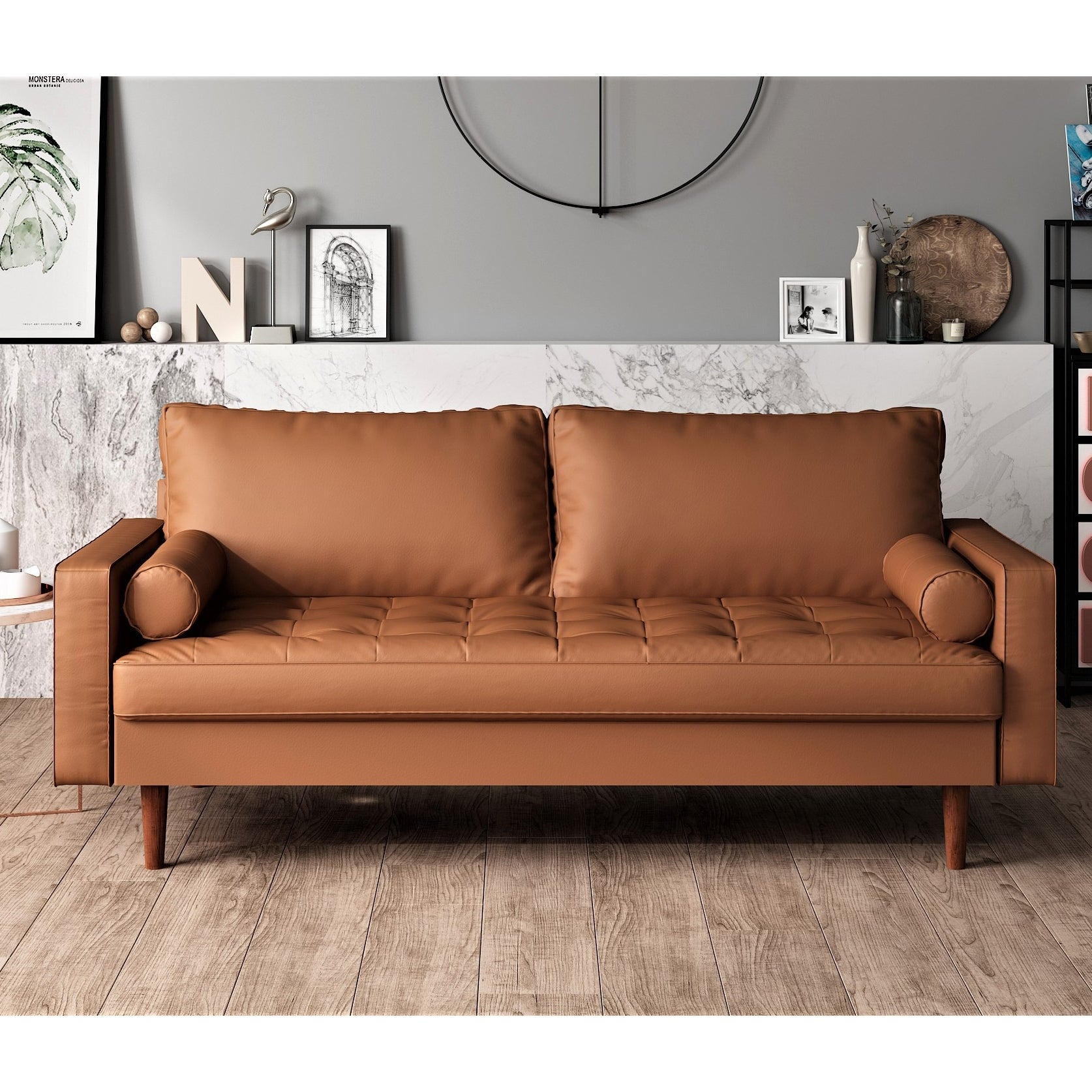 Us Pride Faux Leather Mid Century Modern Sofa Overstock 26033067