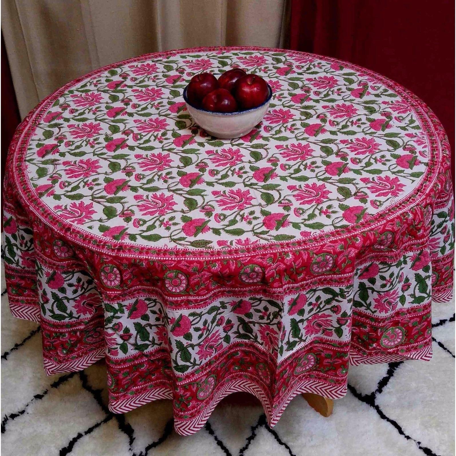 Handmade Lotus Flower Block Print Round Tablecloth Rectangular Cotton Red,