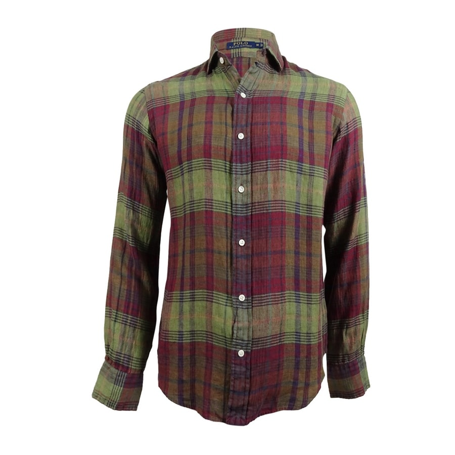 2dd731e1c Shop Polo Ralph Lauren Men's Plaid Linen Sport Shirt (M, Olive/Purple) -  Olive/Purple - M - Free Shipping On Orders Over $45 - Overstock - 19628050