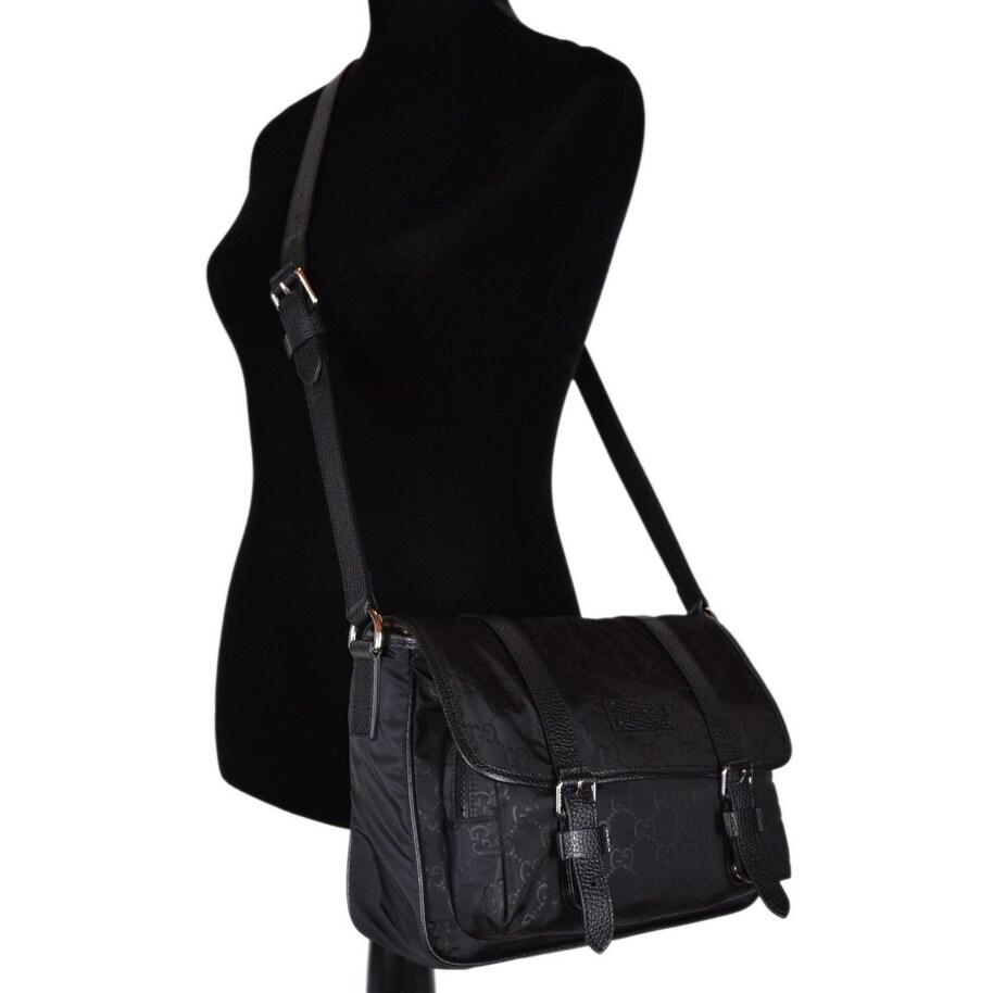 452671b835d3 Shop Gucci 510335 Black Nylon Leather GG Guccissima Messenger Bag Crossbody  Purse - 11.5