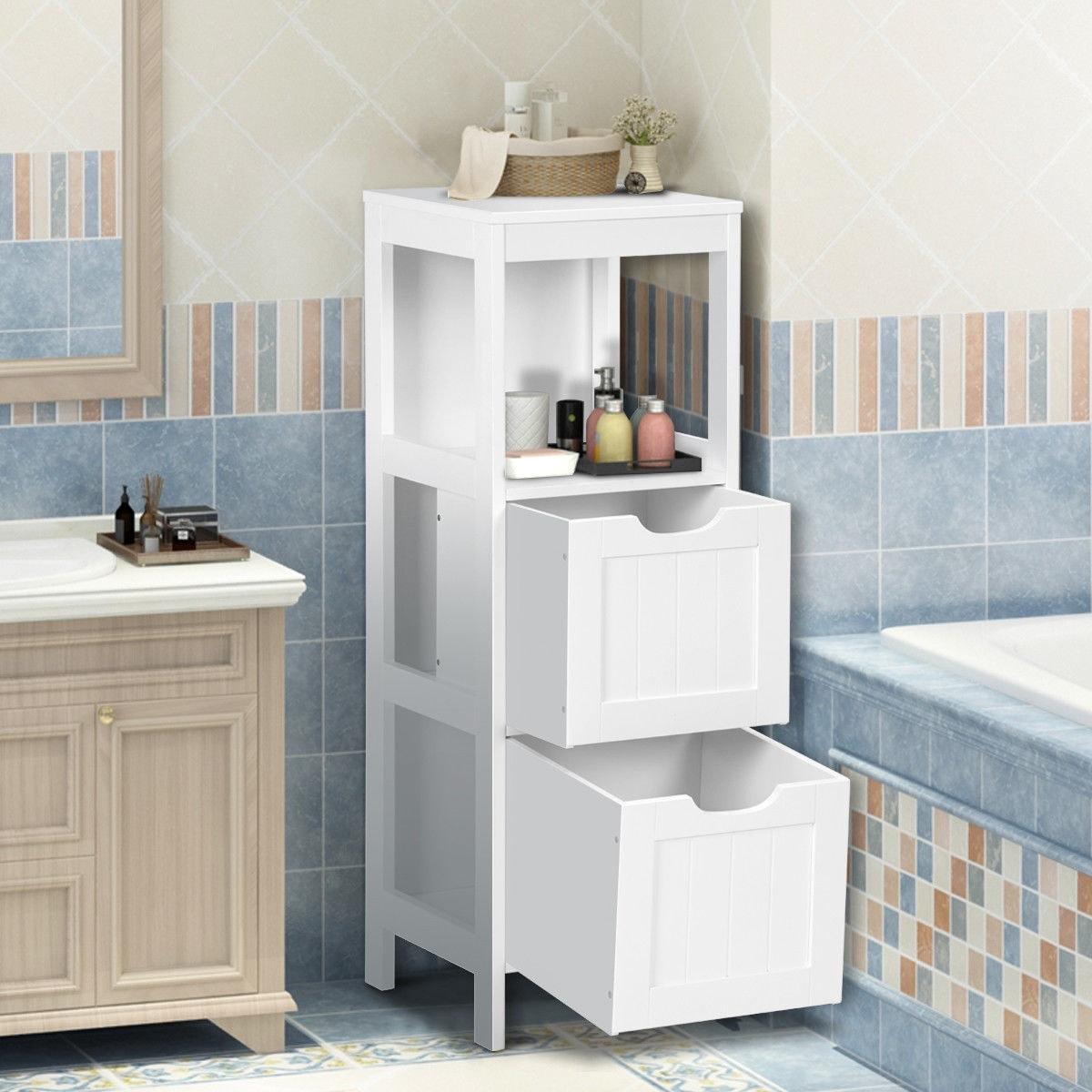 Shop Gymax Bathroom Floor Cabinet Multifunctional Bathroom Storage ...
