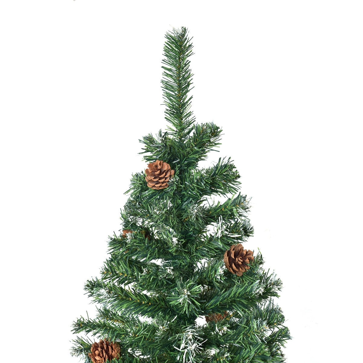 shop costway 7 ft artificial christmas tree premium hinged w solid metal legs pine cones green free shipping today overstockcom 18180847