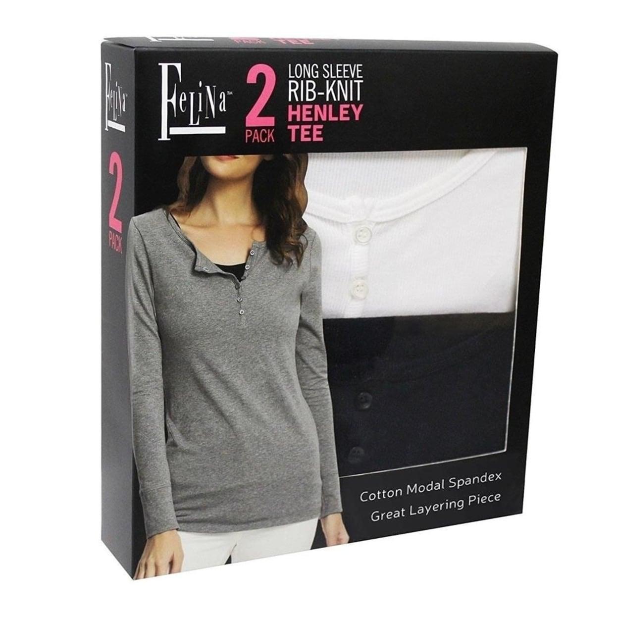 432e72c3716155 Shop Felina Rib-Knit Long Sleeve Henley Tee 2PK Black White size XL 14-16  Womens Shirt Top Designer Fashion - On Sale - Free Shipping On Orders Over   45 ...