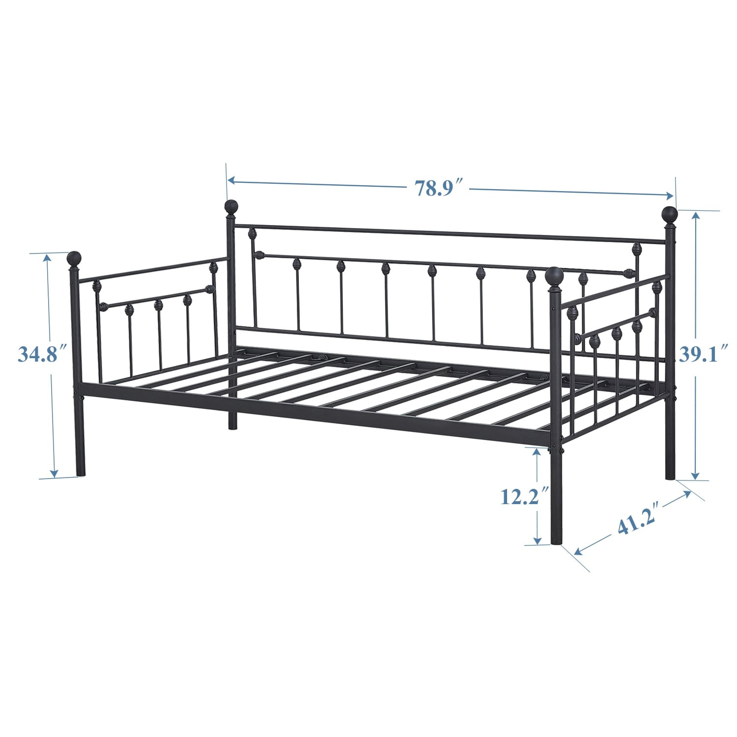 Vecelo Kids Beds Metal Daybed Frames Or Trundle Twin Size