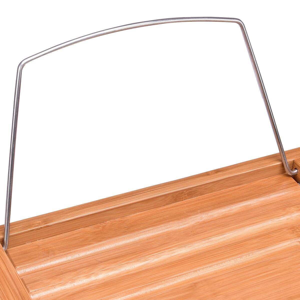 Shop Costway Bamboo Bathtub Caddy Shower Rack Bath Tub Tray ...