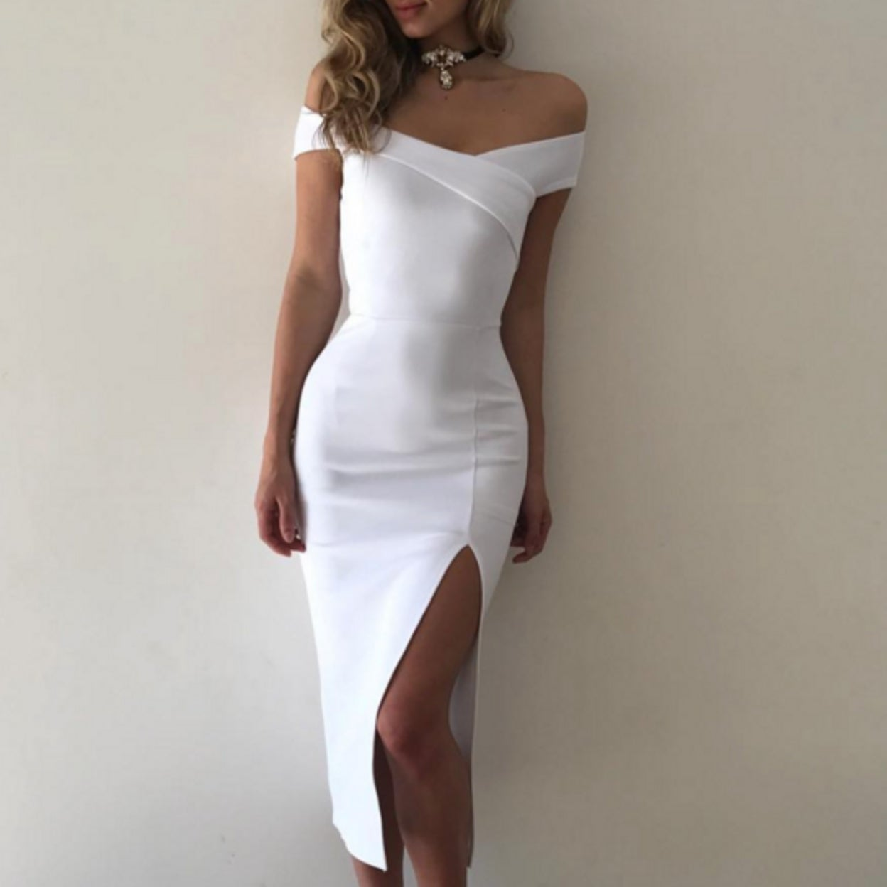 42bc2867190 Shop Elegant Summer Sexy Women Bodycon Dresses Off Shoulder Side Slit Plus  Size Dress - Free Shipping On Orders Over  45 - Overstock - 23017605