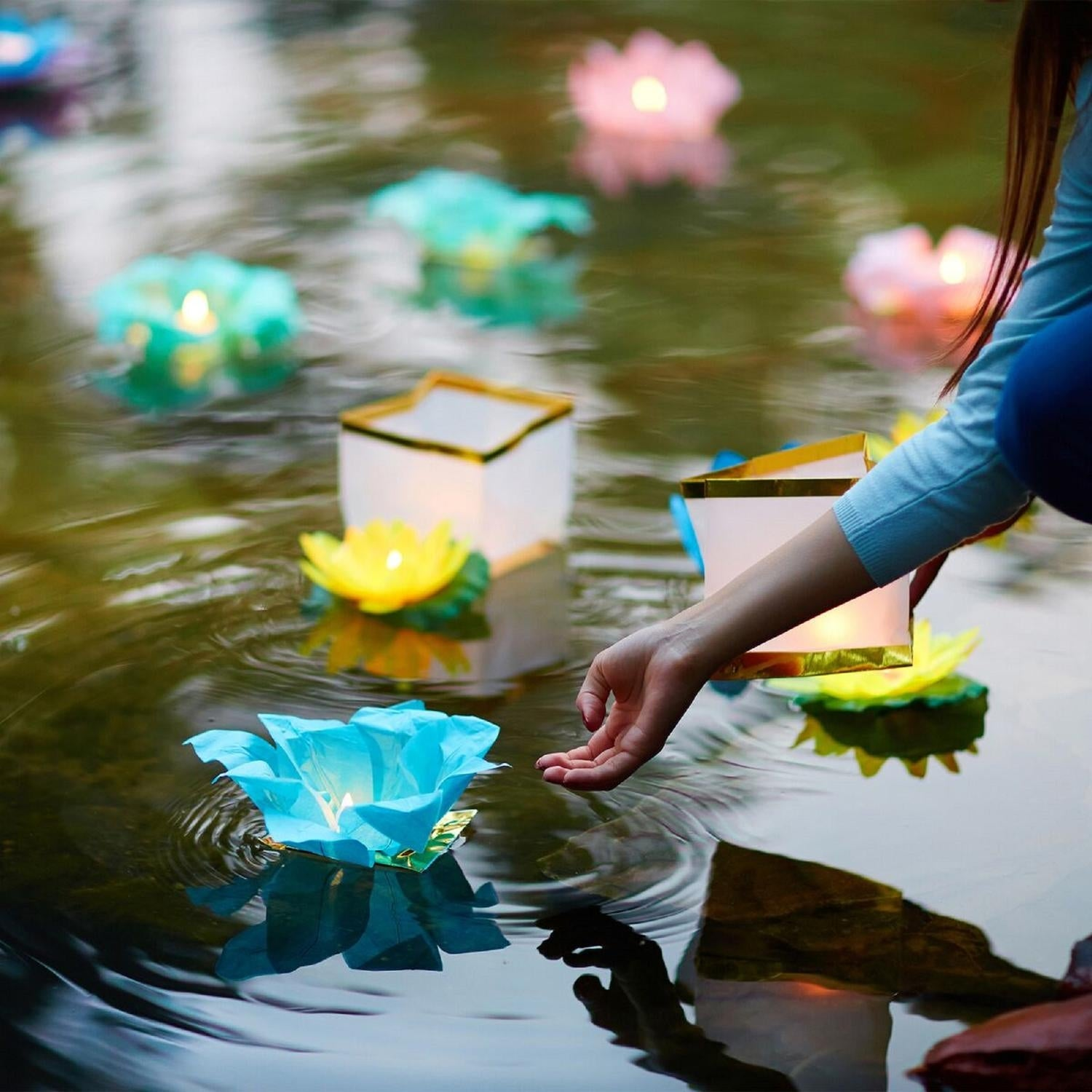 Pack Of 6 Turquoise Floating Lotus Paper Flower Outdoor Patio Decor