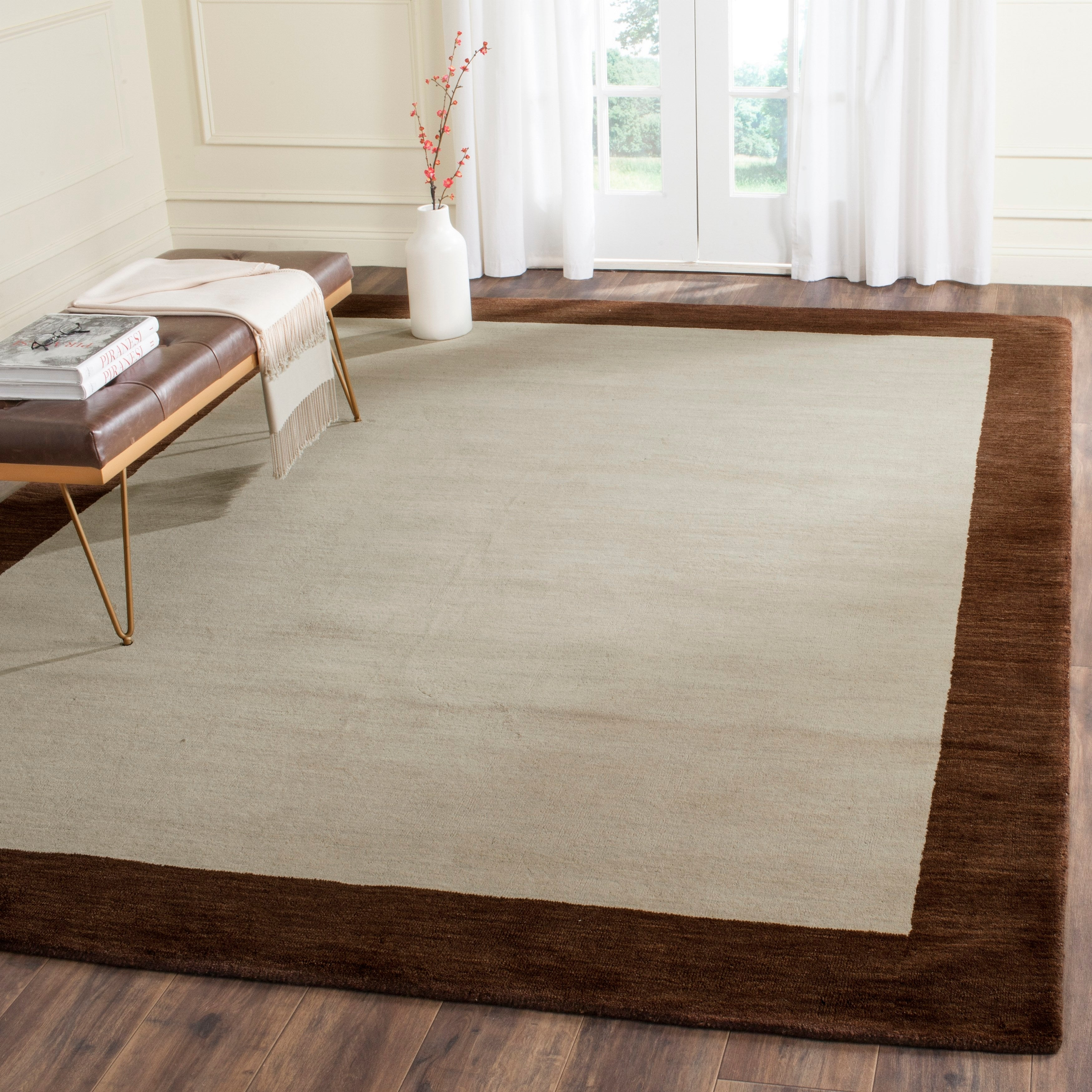 Safavieh Handmade Himalaya Beige Dark Brown Border Wool Runner Rug On Sale Overstock 7324915