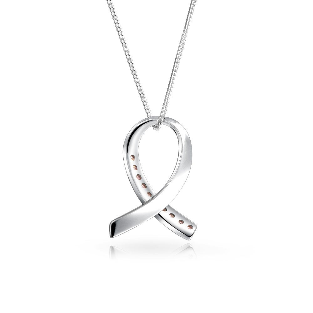 Bling Jewelry CZ Breast Cancer Awareness Ribbon Pendant Sterling Silver Necklace 16 Inches HpJXxnPp