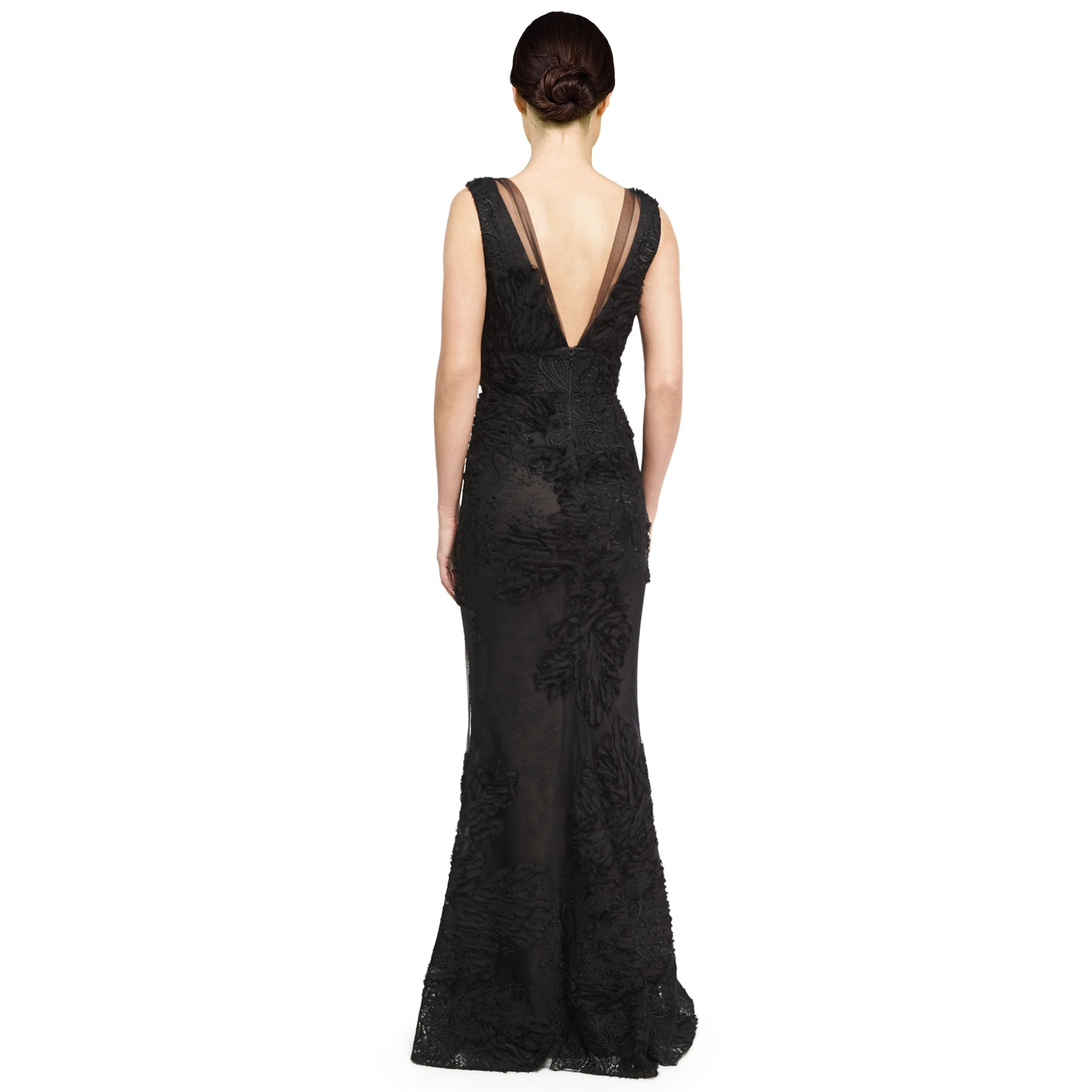 b76d0d958312 Shop Marchesa Notte Embroidered Tulle V-Neck Sleeveless Evening Gown Dress  - 8 - Free Shipping Today - Overstock - 18534745