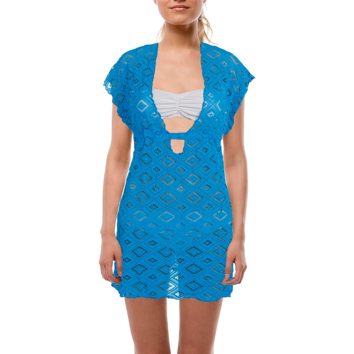 Shop Becca Womens Lace Plunge Dress Swim Cover-Up - Free Shipping On ...