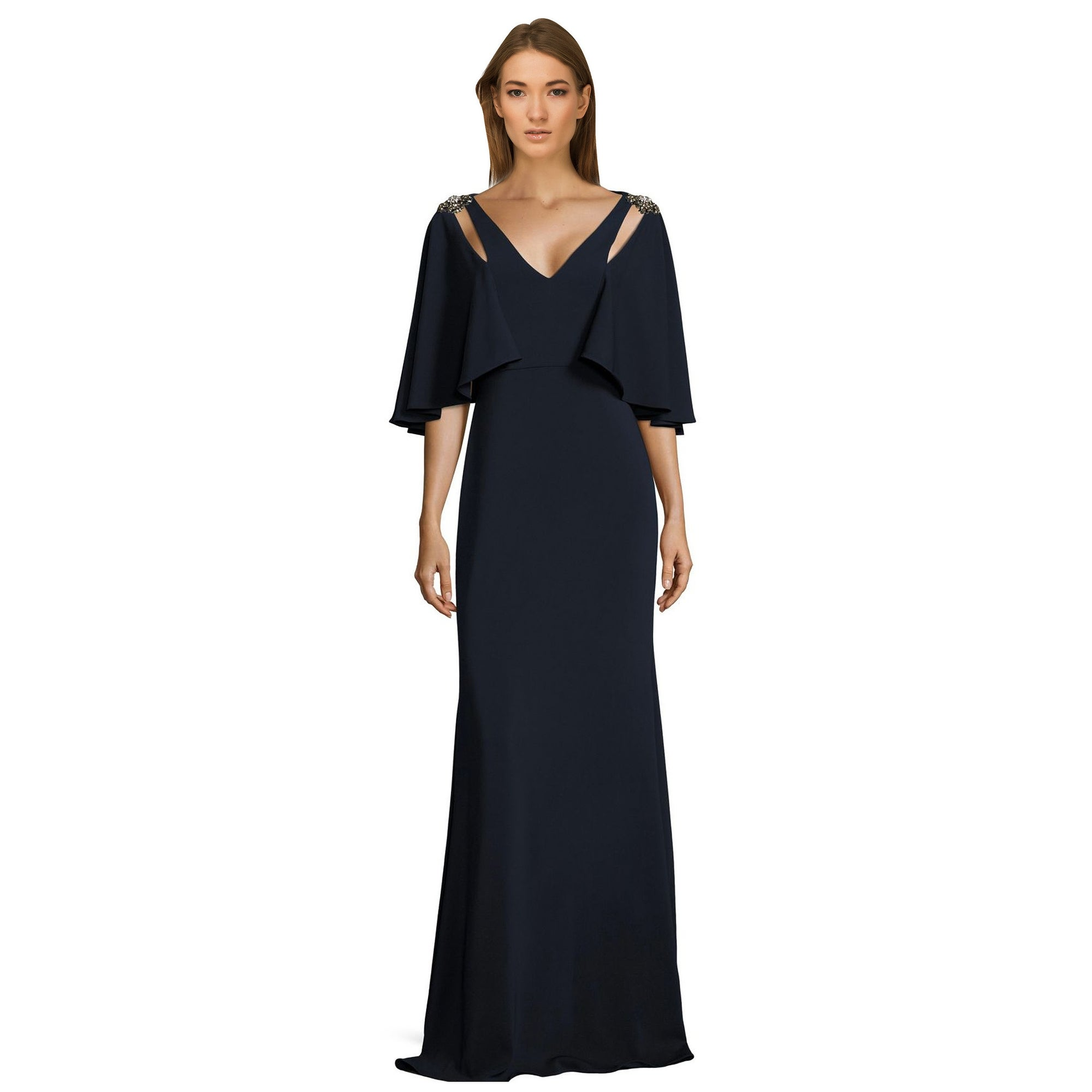 Shop Badgley Mischka Embellished Cutout Cape Sleeve Evening Gown ...