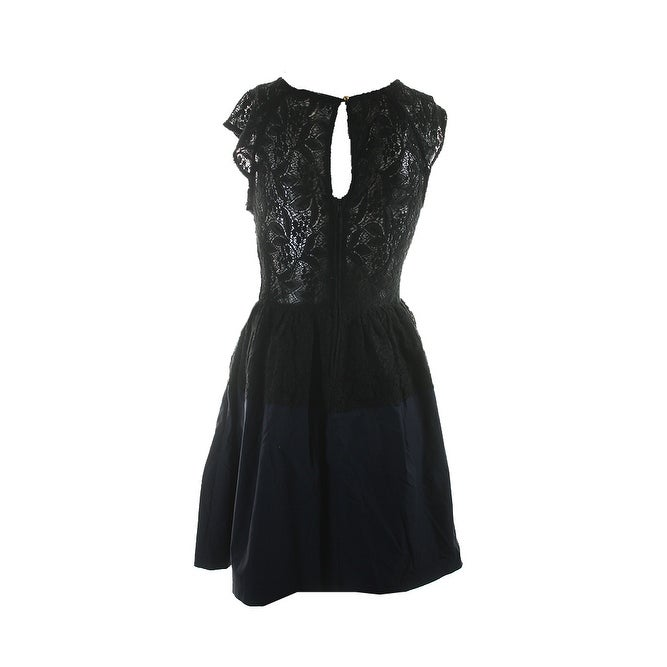 Shop Emerald Sundae Juniors Black Cap Sleeve Mixed Media Lace Dress