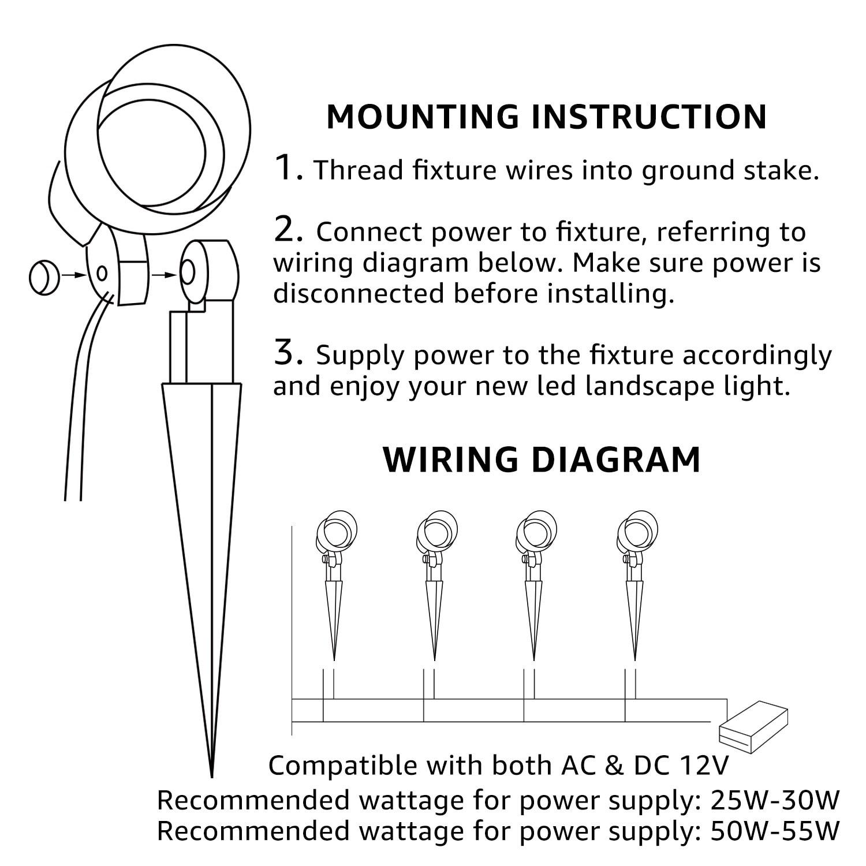 light landscape 12v ac wiring library wiring diagramshop 4 pack 5w led outdoor landscape light,