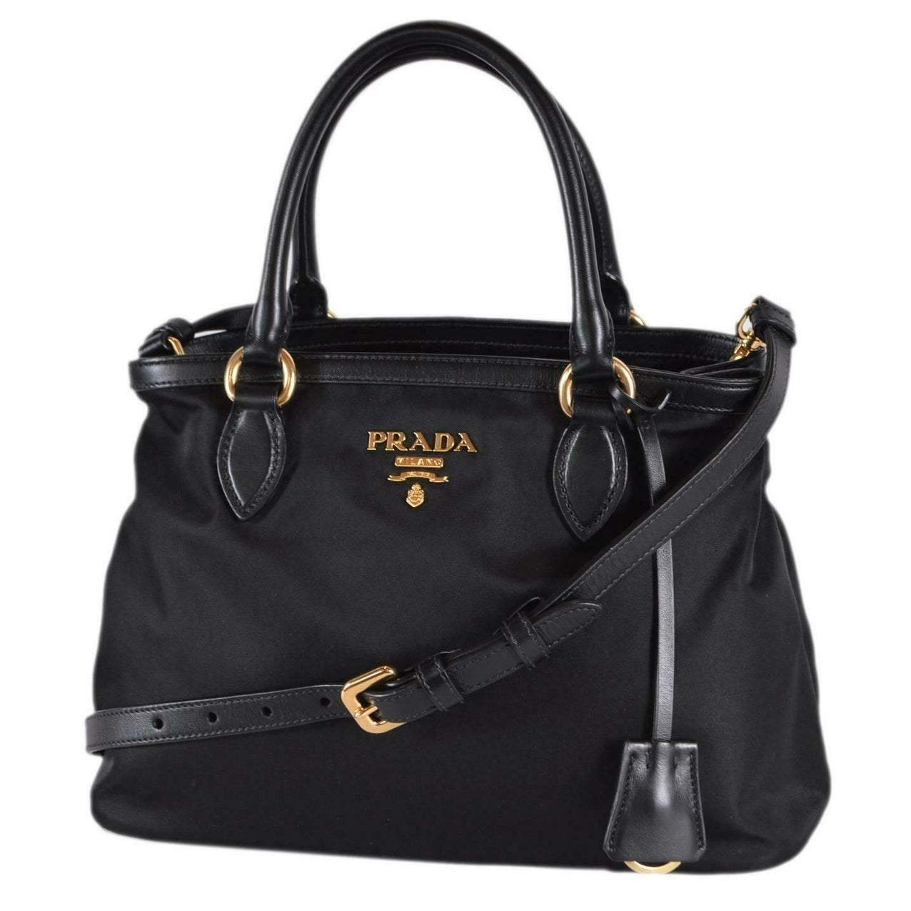 c505d020e07e Shop Prada 1BA173 Tessuto Nylon Leather Black Bauletto Handbag W/Crossbody  Strap - Free Shipping Today - Overstock - 27778030