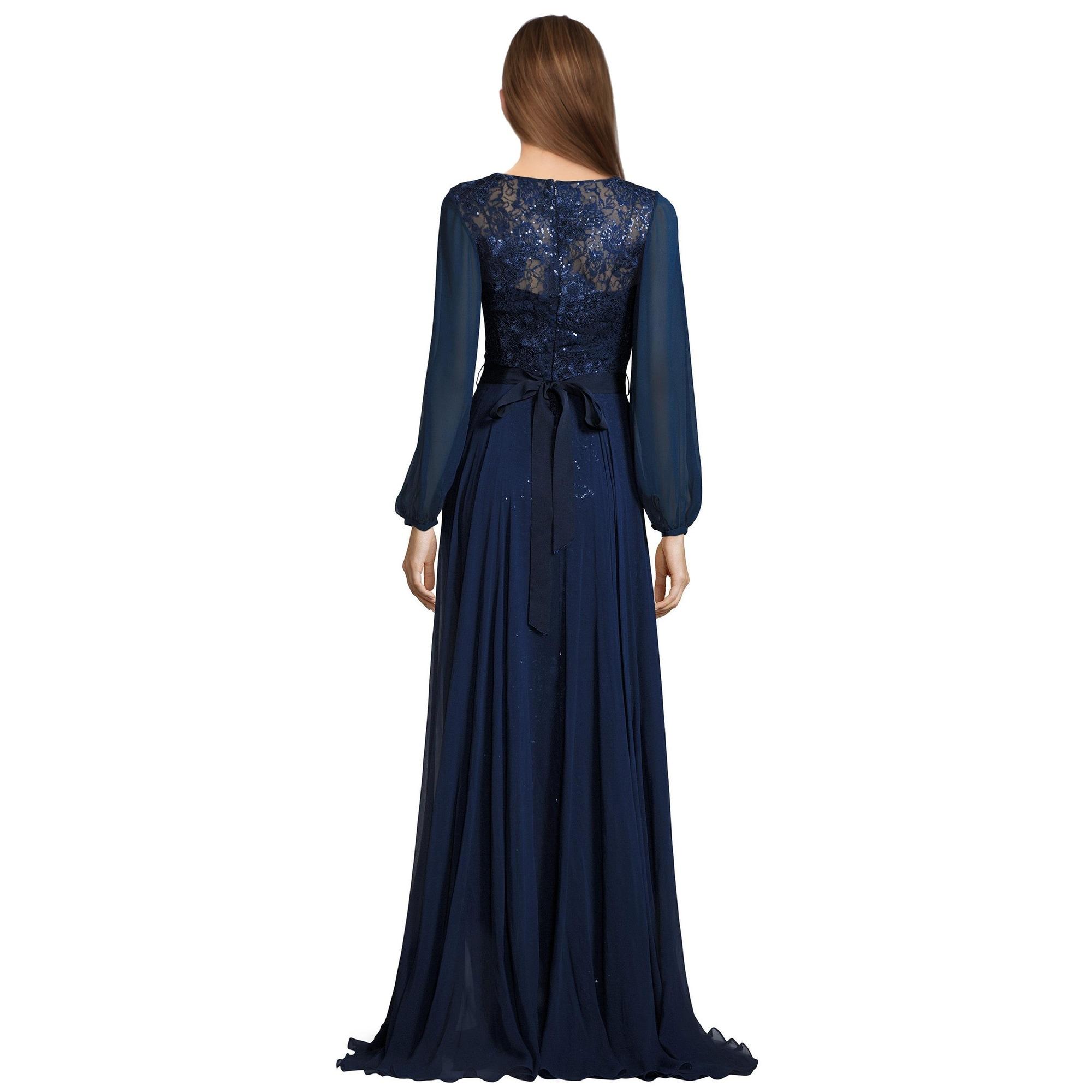 Teri Jon Lace Chiffon Beaded Long Sleeve Evening Gown Dress Free