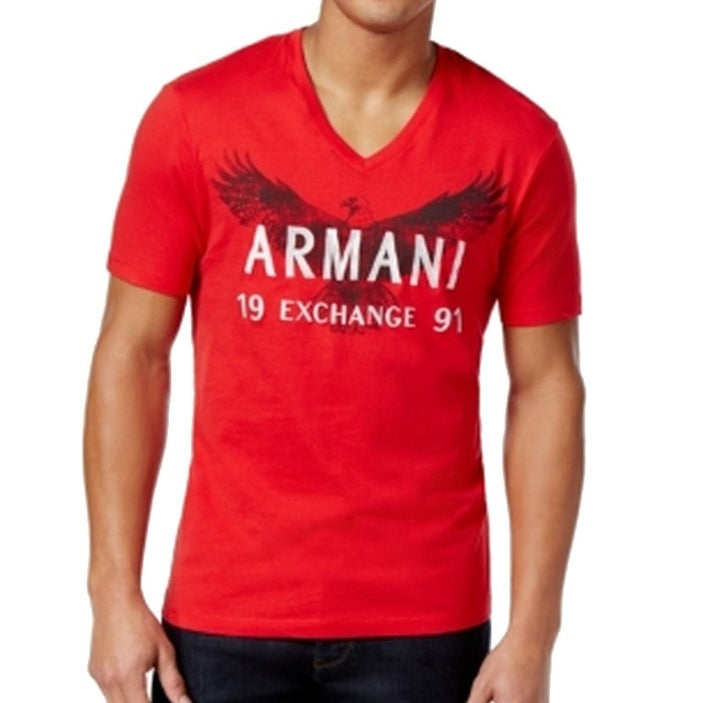 5236185e24f Armani Exchange NEW Red Mens Size Large L Logo Bird Graphic Tee T-Shirt