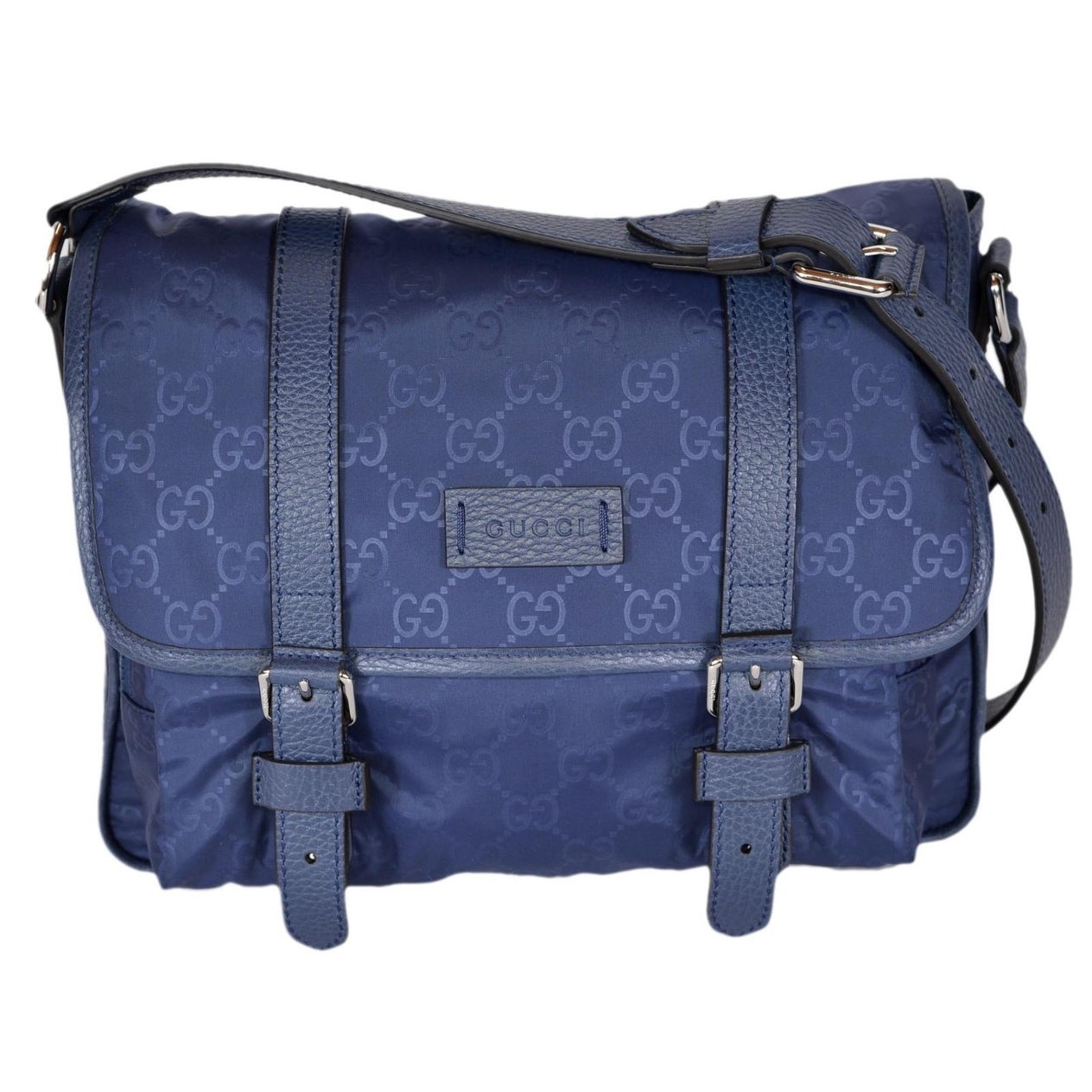 914ca015afd9 Shop Gucci 510335 Blue Nylon Leather GG Guccissima Messenger Bag Crossbody  Purse - 11.5