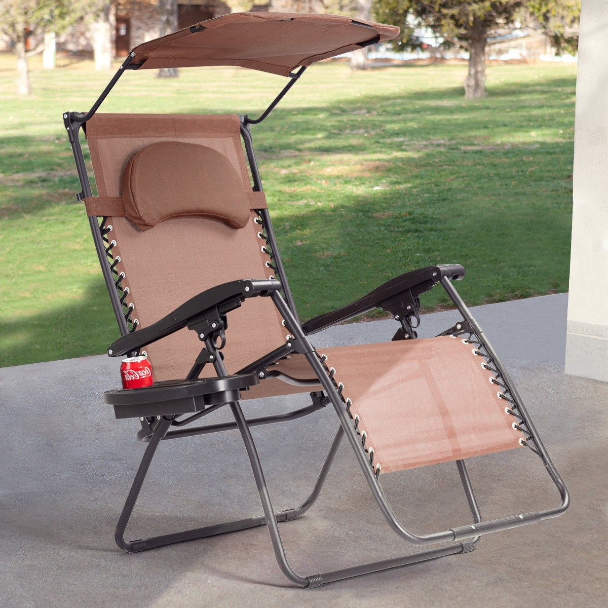 Gymax Folding Recliner Zero Gravity Lounge Chair W Shade Canopy Cup Holder Brown