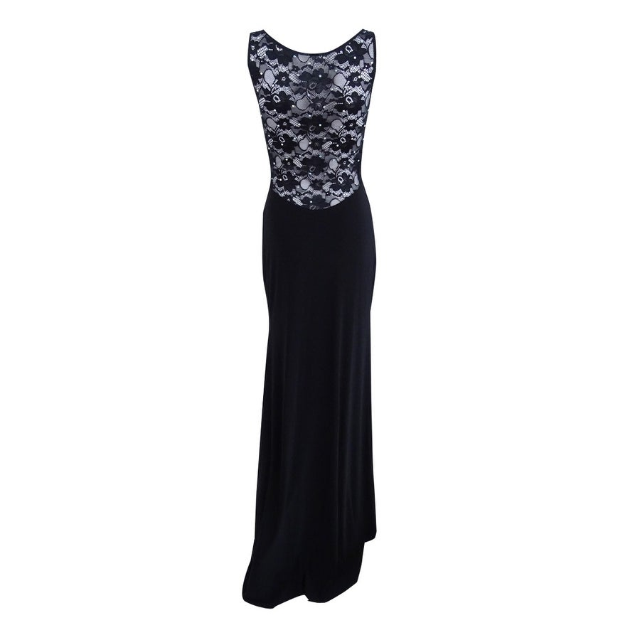 04e9606f9464 Shop X By Xscape Women s Rhinestone Illusion Lace Gown - Black - On Sale -  Free Shipping Today - Overstock - 20697606
