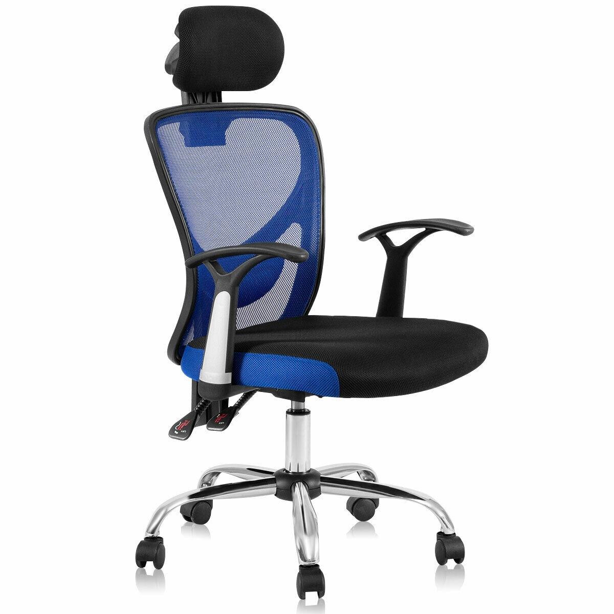 Costway Ergonomic Mesh High Back Office Chair Headrest Blue  sc 1 st  Overstock.com & Shop Costway Ergonomic Mesh High Back Office Chair Headrest Blue ...
