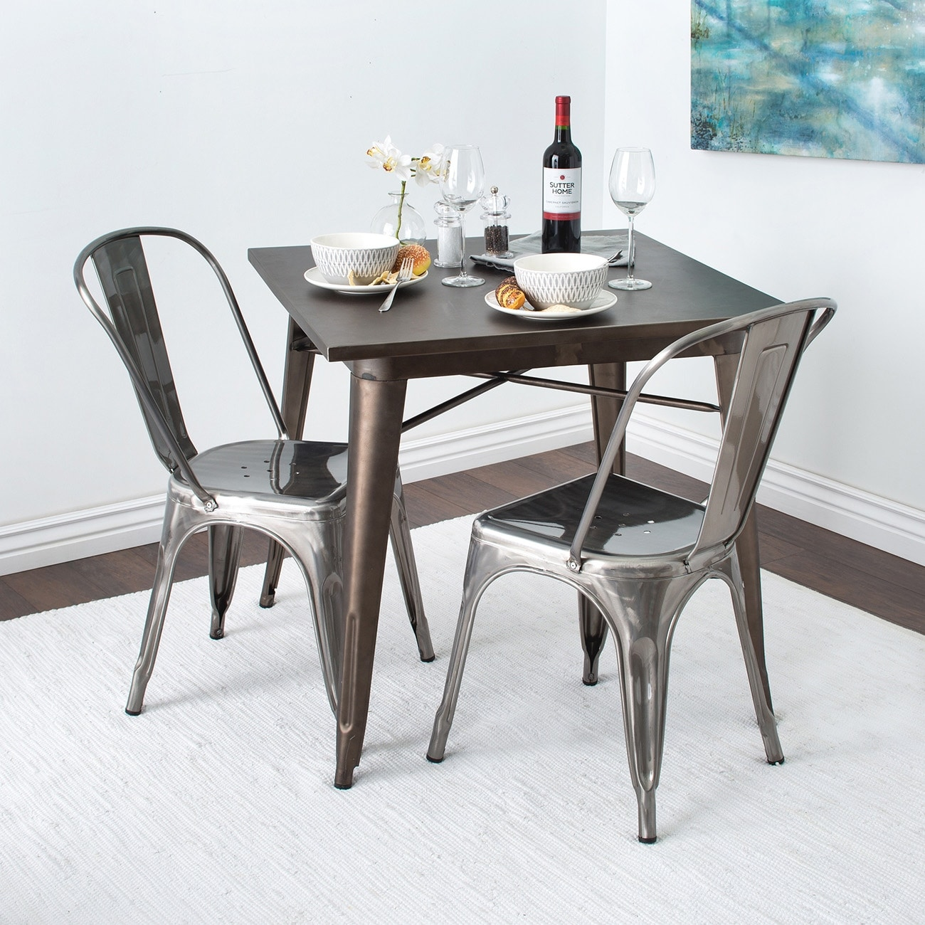 Trattoria Dining Chair, Metal, Stackable, Set of (4), Gunmetal ...