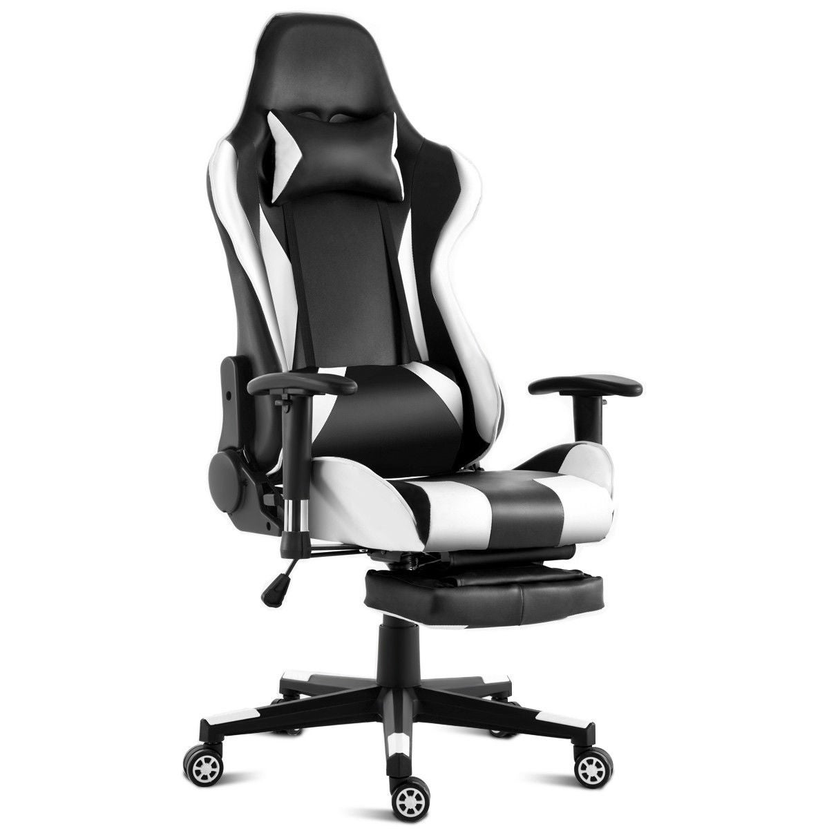 Costway Gaming Chair High Back Racing Recliner Office Chair W Lumbar Support Footrest White And Black