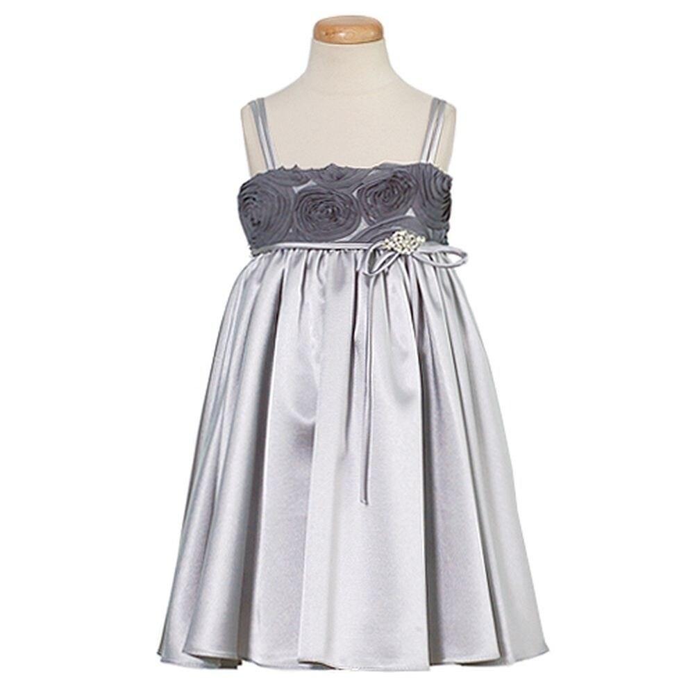 b29a7371d Silver Taffeta Flower Girl Dresses