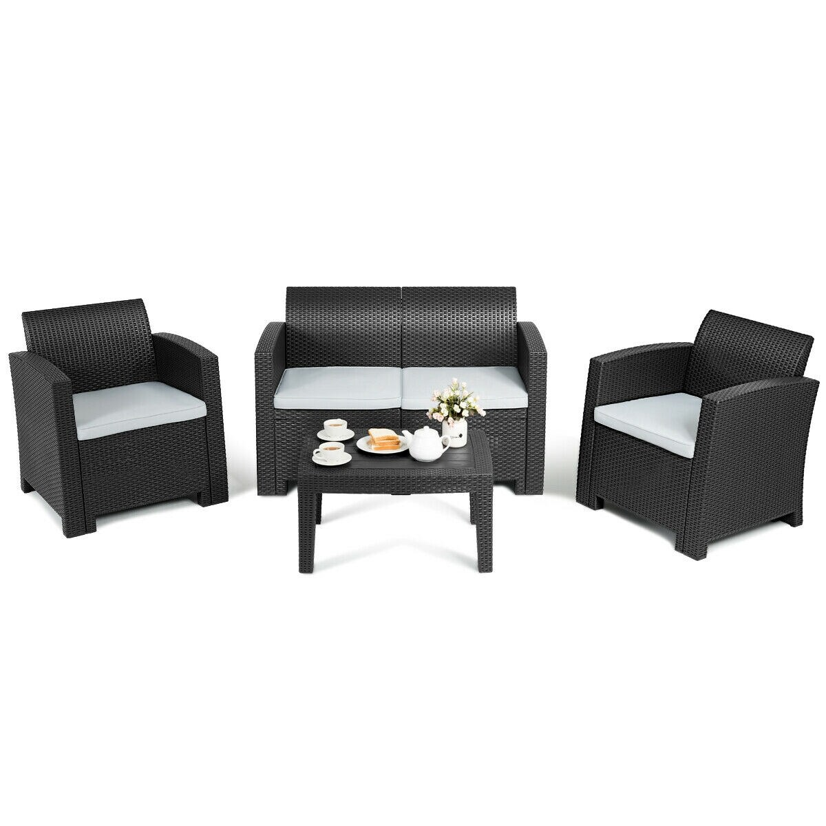 Bon Shop Gymax 4 Piece Patio Furniture Set Molded Rattan Sectional Sofa Set  Coffee Table Black   On Sale   Free Shipping Today   Overstock   28108031